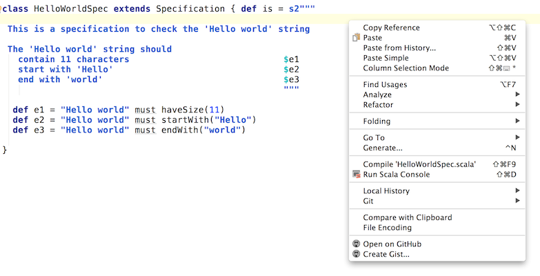 specs2 in Intellij